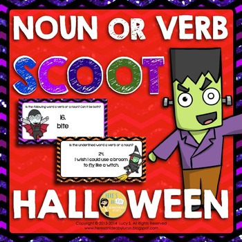 Halloween SCOOT Noun or Verb task cards