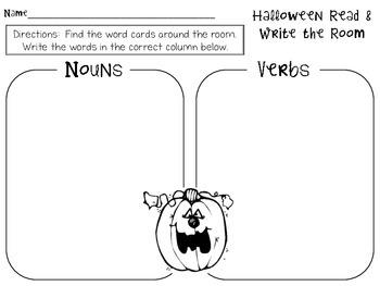 Halloween Noun/Verb Read & Write the Room