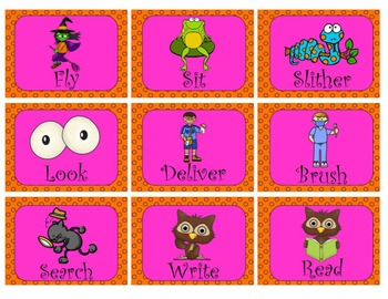 Halloween Nouns, Adjectives, and Verbs Sort