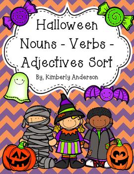 Halloween: Nouns / Verbs / Adjectives Sort