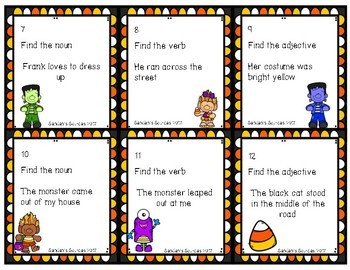 Halloween Nouns, Verbs, and Adjectives Centers