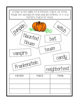 Halloween Nouns Worksheet