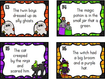Nouns and Adjectives Task Cards: Halloween Theme