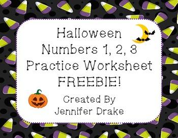 Halloween Number 1-3 Practice Worksheet FREEBIE!