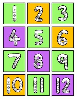 Halloween Number BINGO 1-12 Number Recognition