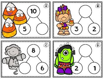 Halloween Number Bond Task Cards