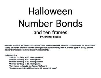Halloween Number Bonds Game with Ten Frames