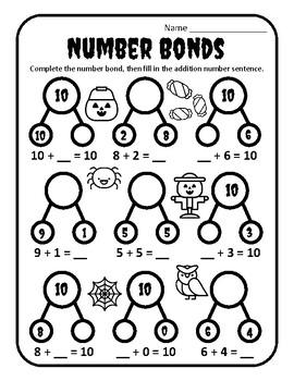 Halloween Number Bonds Three Numbers Halloween Making 10 Halloween Making Ten