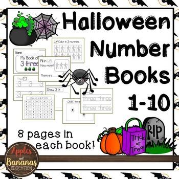 Halloween Number Books - Numbers 1-10