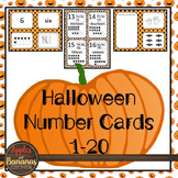 Halloween Number Cards 1-20 - Ten frame/standard/word/pict