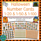 Halloween Number Cards 1-20 & 1-50 Flashcards 14 cards in