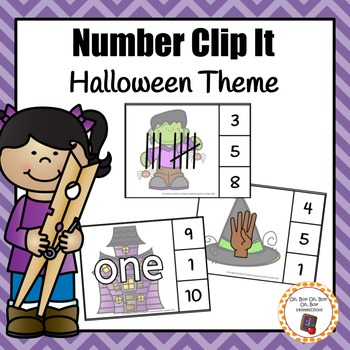Halloween Number Clip It Cards