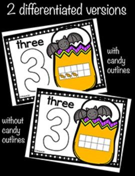 Halloween Number Concept DIFFERENTIATED Playdough Mats 0-20