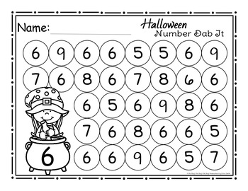 Halloween Number Dab It Worksheets