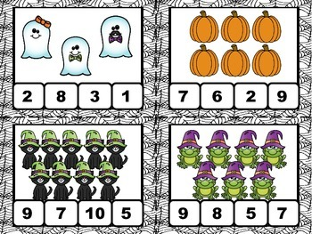 Halloween Number Identification Clip Cards