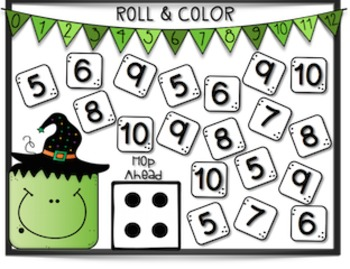 Halloween Number Line Addition Roll and Color Games