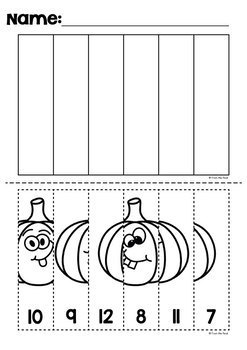 Halloween Number Line Cut and Paste Puzzle Worksheets {Halloween Math}