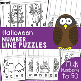Halloween Number Line Cut and Paste Puzzle Worksheets {Hal