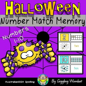 Halloween Number Match Memory Cards