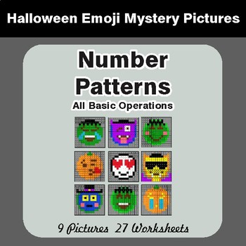 Halloween: Number Patterns: Misc Operations - Color-By-Number Math Mystery Pictures