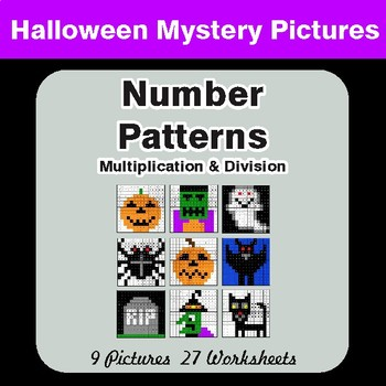 Halloween: Number Patterns: Multiplication & Division - Math Mystery Pictures