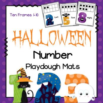 Halloween Number Playdough Mats - Ten Frames
