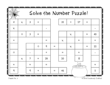 Halloween Number Puzzle Freebie!