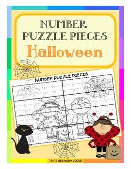 Halloween - Number Puzzle Pieces EASY PREP