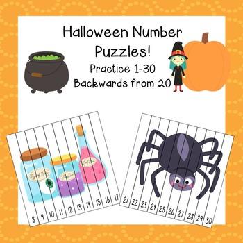Halloween Number Puzzles / Halloween Math / Free Halloween