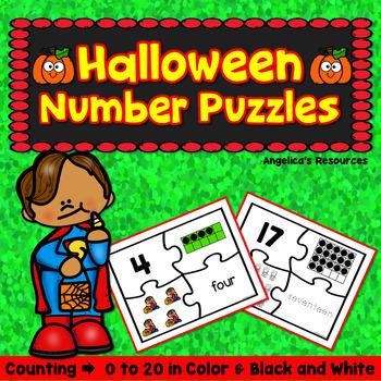 Number Sense 0-20 : Halloween Activities - Number Puzzles