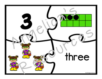 Halloween Activities : Number Sense 0-20 - Counting - Number Puzzles