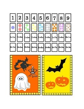 Halloween Number Recognition Glue Hole Punch Staple Kindergarten Addition Print