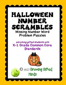 Halloween Number Scrambles Puzzles