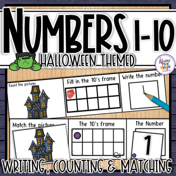 Halloween Number Sense 1-10  counting, matching, reading & writing numbers 1-10
