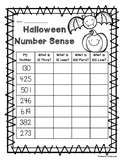 Halloween Number Sense: 10 More, 10 Less, 100 More, 100 Less