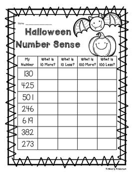 Halloween Number Sense: 10 More, 10 Less, 100 More, 100 Less