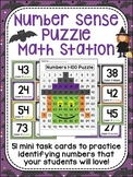 Halloween Math Center: Number Sense 100 Chart Puzzle (Witch)