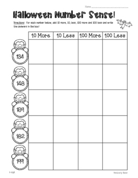Halloween Number Sense Activity - 3 Leveled Sheets