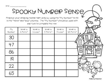Halloween Number Sense Mental Math: 1 More, 1 Less, 5 More, 5 Less, 10 More