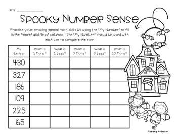 Halloween Number Sense Mental Math: 1 More, 1 Less, 5 More, 5 Less, 10 More