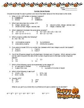 Halloween Number Sense Review Activity