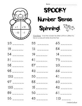Halloween Number Sense Spinning Activity - 2 sheets - Place Value Practice