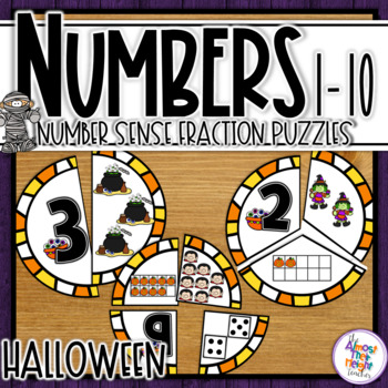Number Sense Halloween puzzles for numbers 1-10