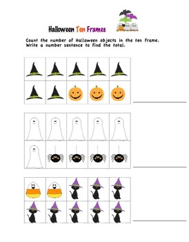 Halloween Number Sentences and Ten Frames
