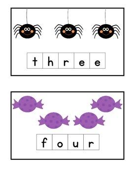 Halloween Number Spelling Tiles