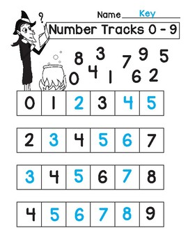Halloween Number Tracks Digits 0 - 5 and 0 - 9