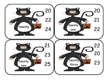 Halloween Number Word Clip Cards