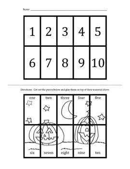 Halloween Number Words 1-10