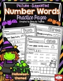 Halloween Math: Number Words Practice Pages
