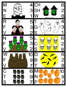 Halloween Number and Phonics Cards
